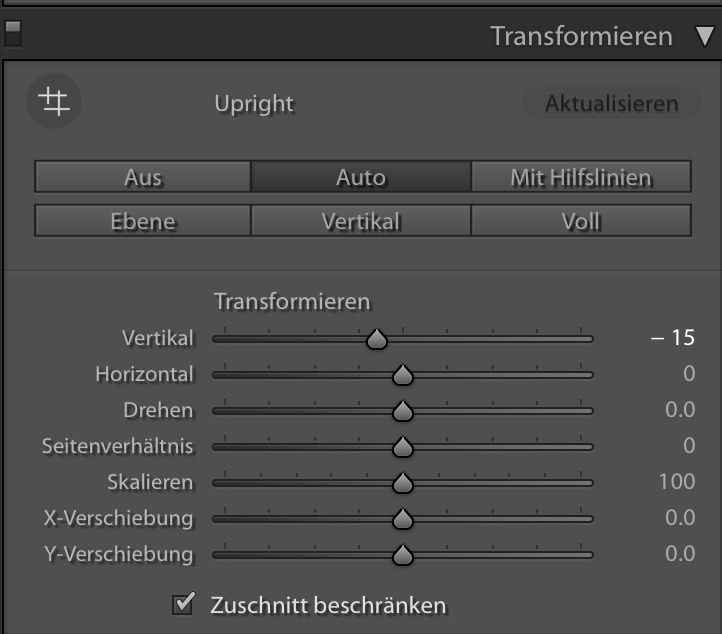 Transformieren und entzerren in Lightroom