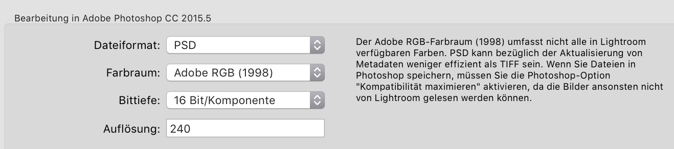 Farbraum in Lightroom - Photoshop