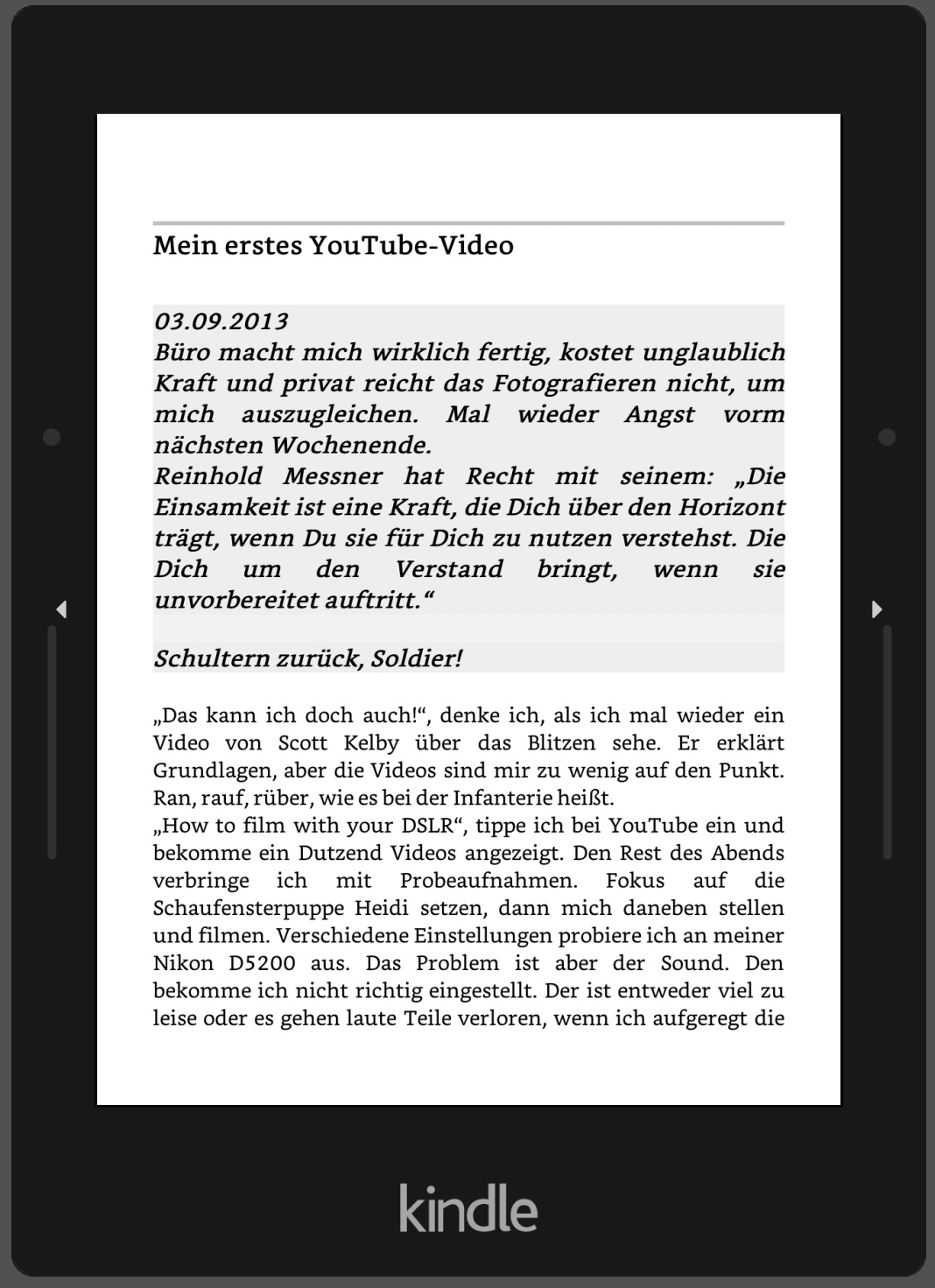 E-Book auf dem Kindle Reader
